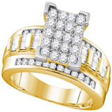 10kt Yellow Gold Womens Round Diamond Elevated Rectangle Cluster Bridal Wedding Engagement Ring 1.00 Cttw