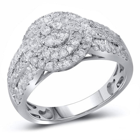 14kt White Gold Womens Round Diamond Cluster Double Halo Ring 1-1/6 Cttw
