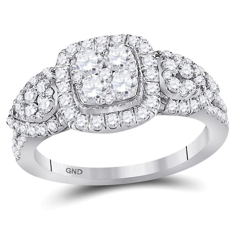 10kt White Gold Womens Round Diamond Square Halo Cluster Ring 1-1/4 Cttw