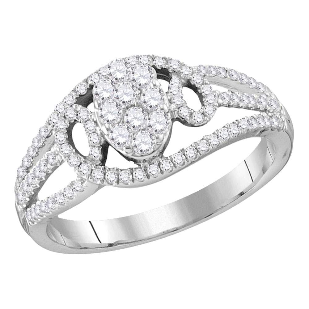 10kt White Gold Womens Round Diamond Oval Cluster Ring 1/2 Cttw