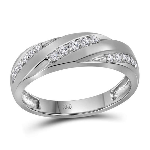 10kt White Gold His & Hers Round Diamond Cluster Matching Bridal Wedding Ring Band Set 1-1/10 Cttw