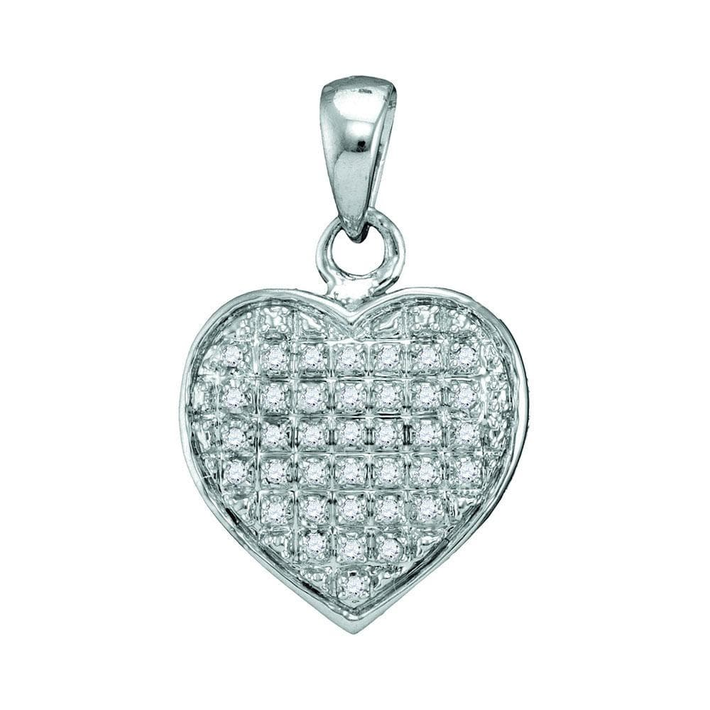10kt White Gold Womens Round Diamond Heart Love Cluster Pendant 1/10 Cttw