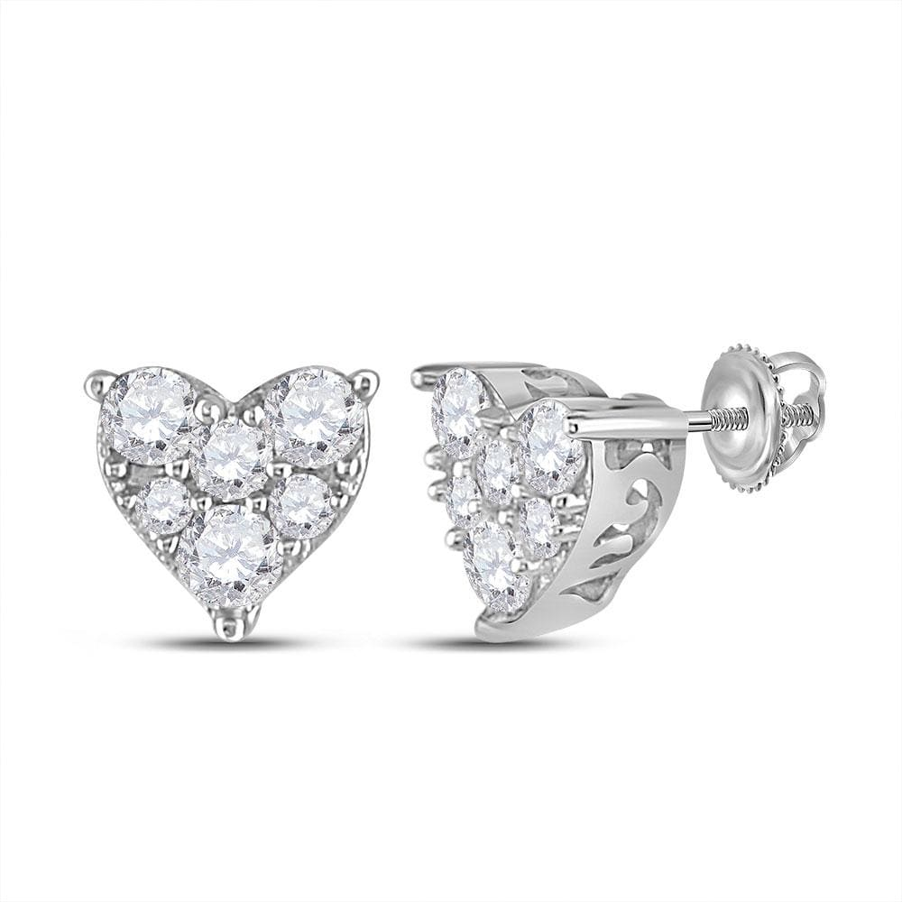 14kt White Gold Womens Round Diamond Heart Cluster Stud Earrings 1/3 Cttw