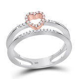 10kt Two-tone White Gold Womens Round Diamond Split-shank Heart Ring 1/10 Cttw