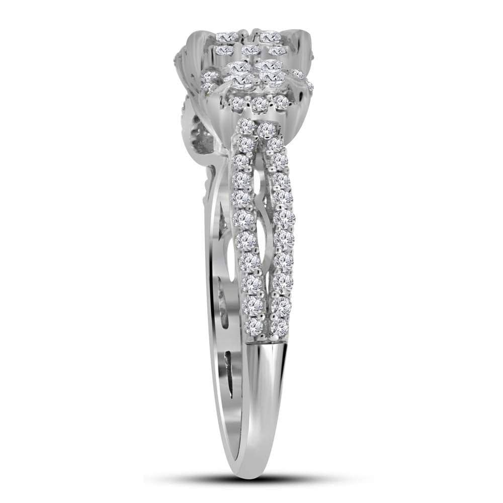 10kt White Gold Womens Round Diamond Triple Cluster Bridal Wedding Engagement Ring 1.00 Cttw
