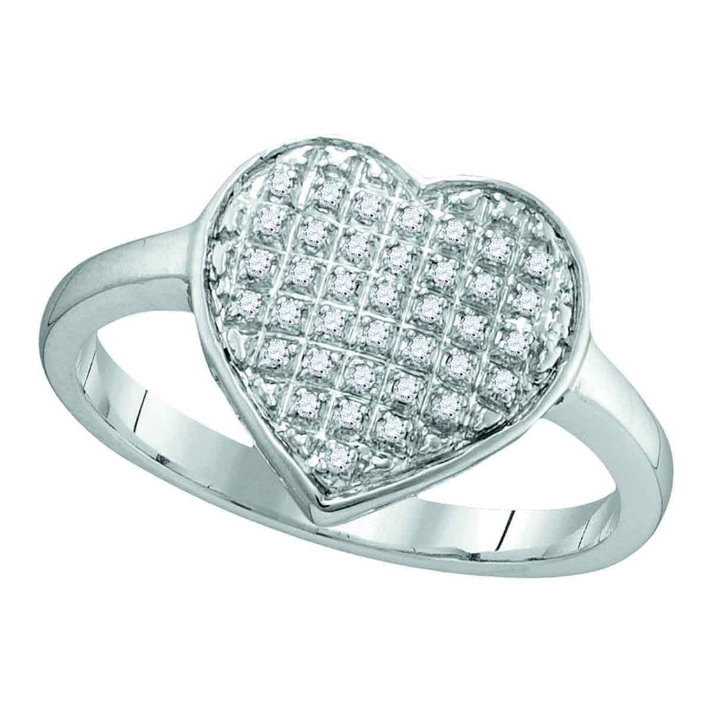 10kt White Gold Womens Round Diamond Heart Cluster Ring 1/8 Cttw