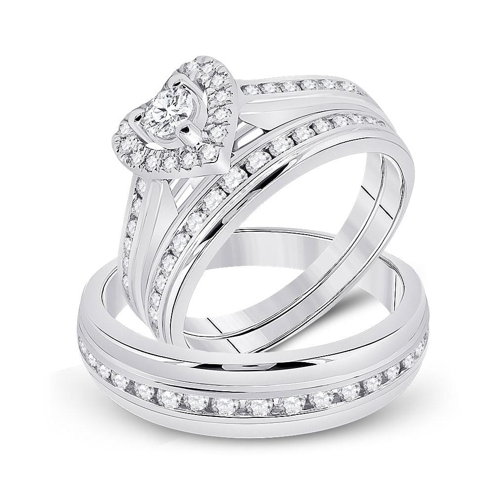 10kt White Gold His Hers Round Diamond Heart Matching Wedding Set 1 Cttw