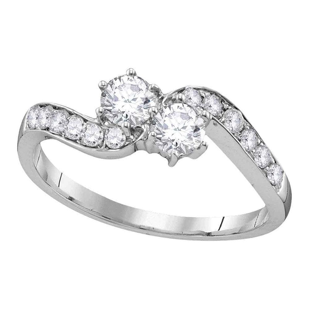 10kt White Gold Round Diamond 2-stone Bridal Wedding Engagement Ring 5/8 Cttw