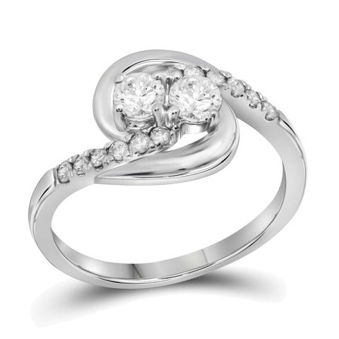 10kt White Gold Womens Round Diamond 2-stone Hearts Together Bridal Wedding Engagement Ring 1/2 Cttw