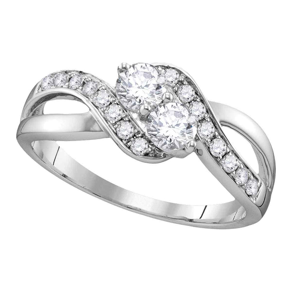 10kt White Gold Womens Round Diamond 2-stone Hearts Together Bridal Wedding Engagement Ring 5/8 Cttw (Certified)
