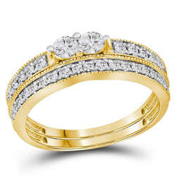 14kt Yellow Gold Womens Round Diamond 2-Stone Bridal Wedding Engagement Ring Band Set 3/4 Cttw