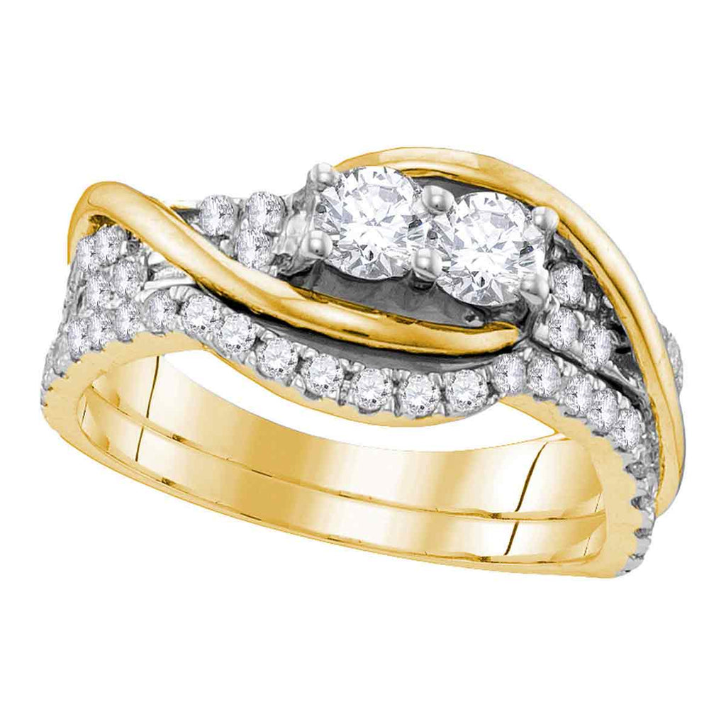 14kt Yellow Gold Womens Round Diamond 2-stone Bridal Wedding Engagement Ring Band Set 1.00 Cttw