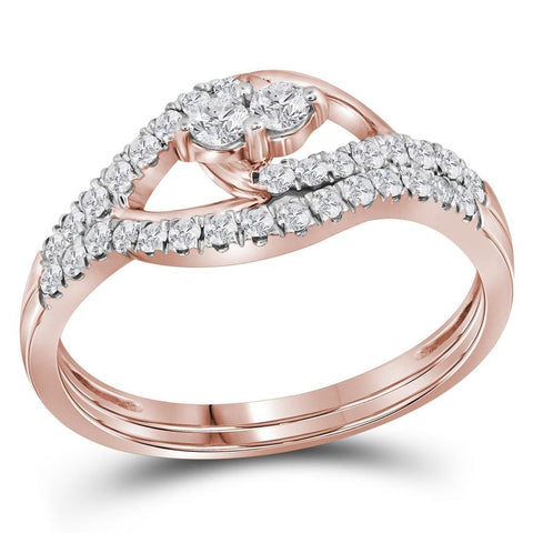 10kt Rose Gold Womens Round Diamond 2-Stone Bridal Wedding Engagement Ring Band Set 1/2 Cttw