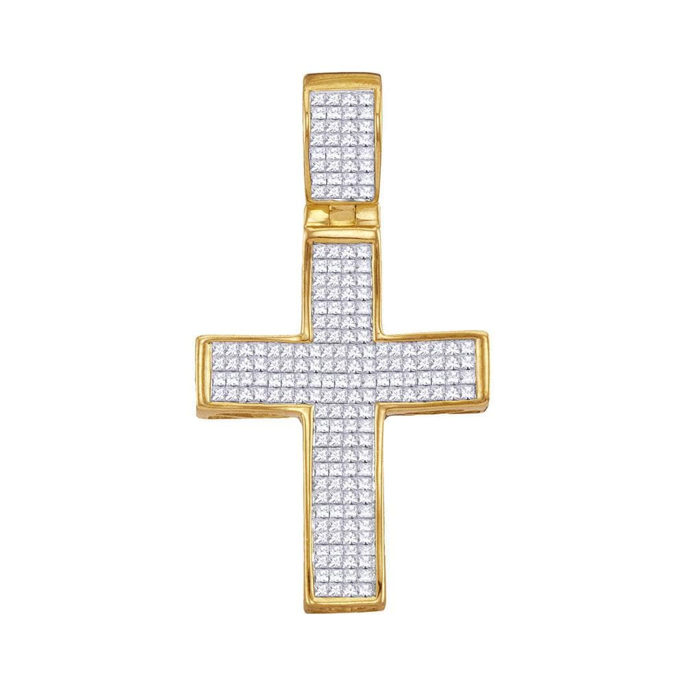 10kt Yellow Gold Mens Princess Diamond Christian Cross Charm Pendant 1-1/2 Cttw