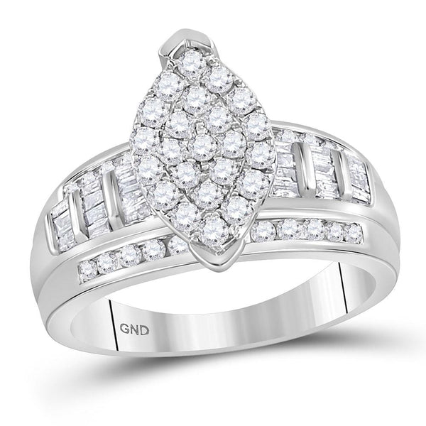10kt White Gold Womens Round Diamond Marquise-shape Cluster Bridal Wedding Engagement Ring 1.00 Cttw