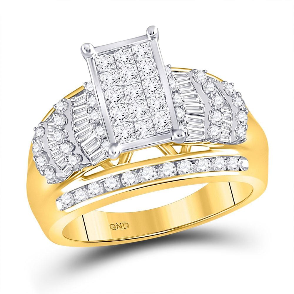10kt Yellow Gold Womens Princess Diamond Cluster Bridal Wedding Engagement Ring 1-1/2 Cttw