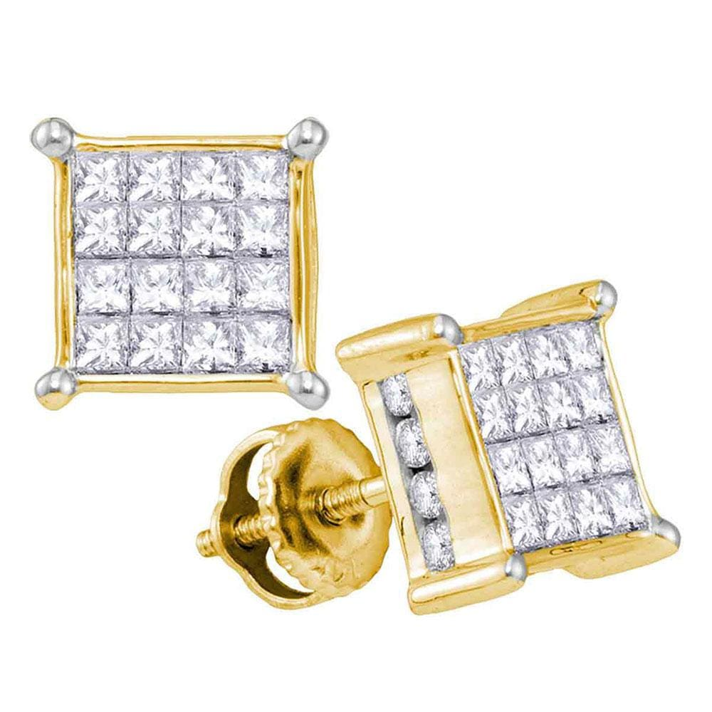 14kt Yellow Gold Womens Princess Diamond Cluster Stud Earrings 1.00 Cttw