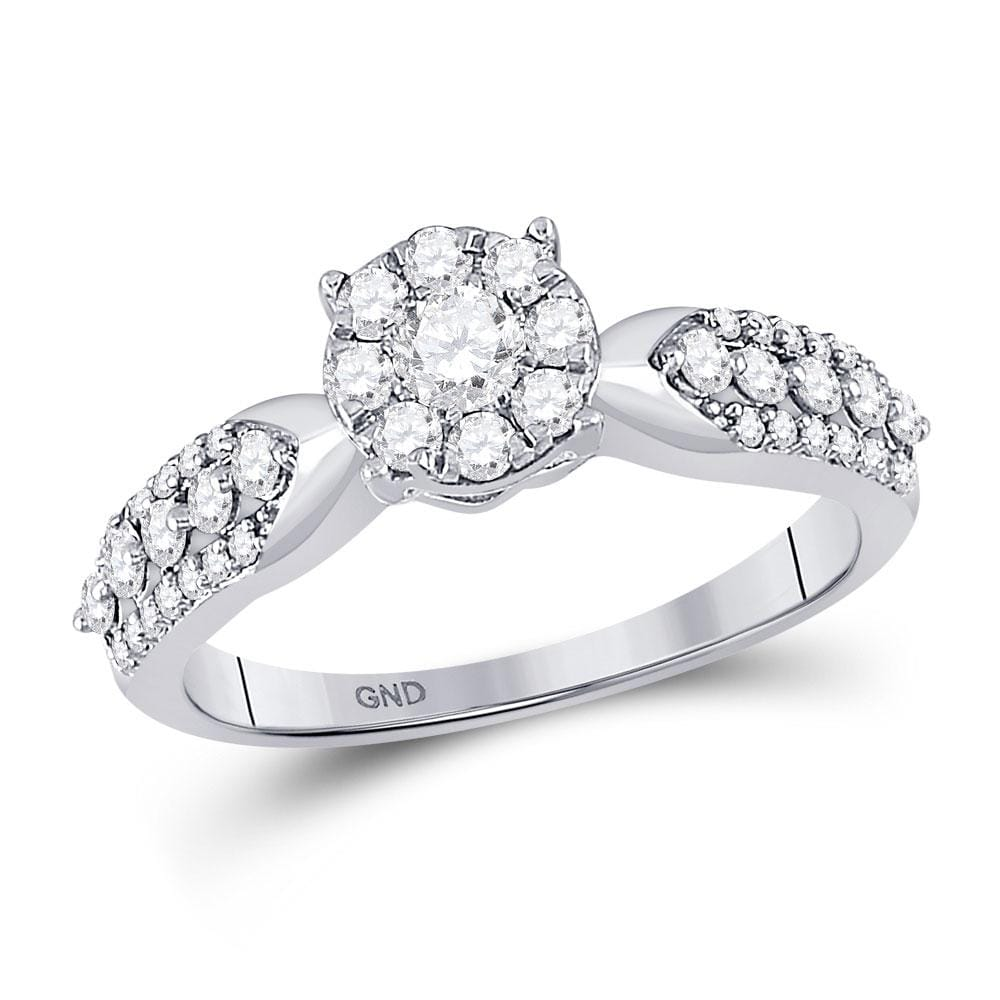 10kt White Gold Round Diamond Cluster Bridal Wedding Engagement Ring 5/8 Cttw