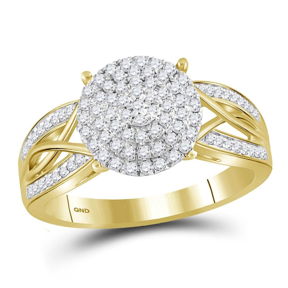 10kt Yellow Gold Womens Round Diamond Circle Cluster Ring 3/8 Cttw