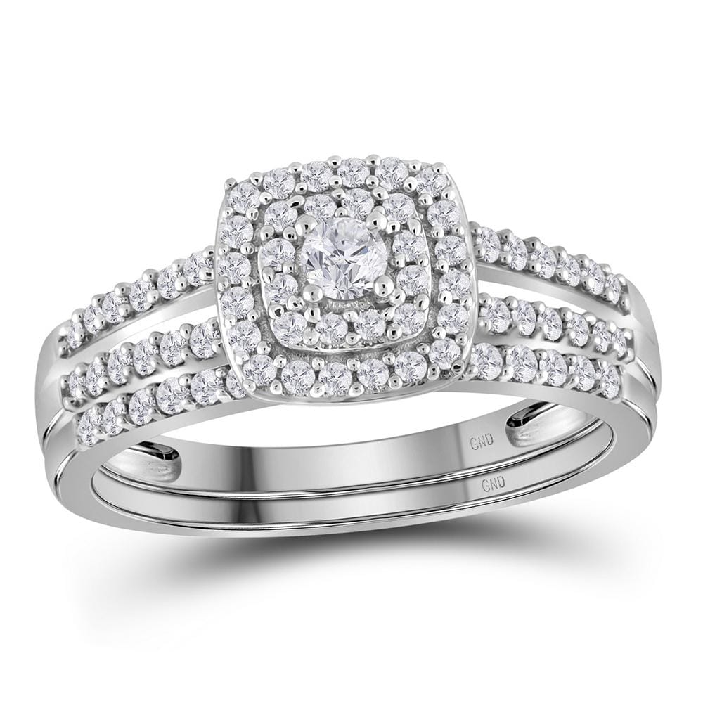 10kt White Gold Womens Round Diamond Split-shank Bridal Wedding Engagement Ring Band Set 1/2 Cttw