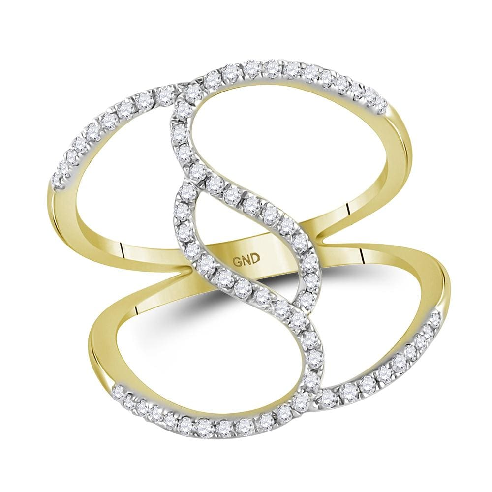 10kt Yellow Gold Womens Round Diamond Open Strand Wide Band Ring 1/3 Cttw