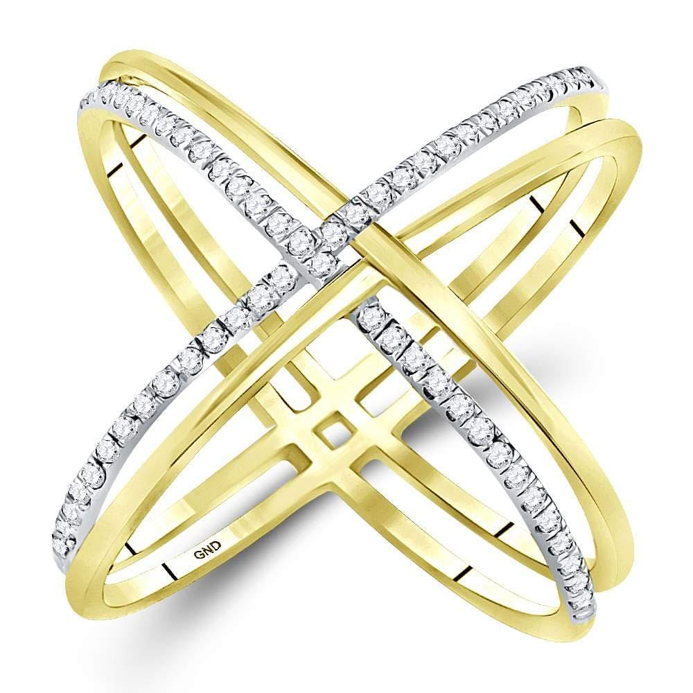 10kt Yellow Gold Womens Round Diamond Crossover Band Ring 1/3 Cttw
