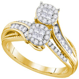 14kt Yellow Gold Womens Princess Round Diamond Soleil Bypass Bridal Wedding Engagement Ring 1/2 Cttw