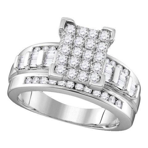 Sterling Silver Womens Round Diamond Rectangle Cluster Bridal Wedding Engagement Ring 3/4 Cttw