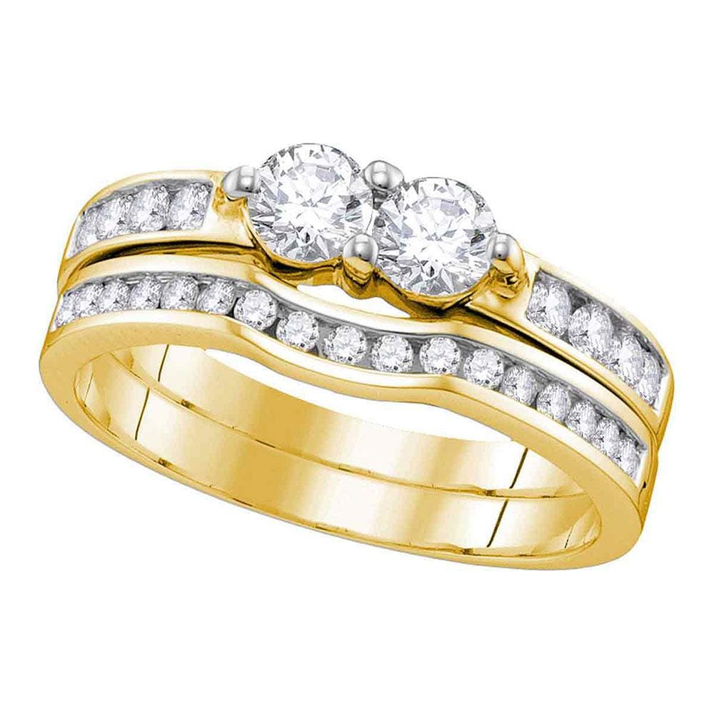 10kt Yellow Gold Womens Round Diamond 2-stone Bridal Wedding Engagement Ring Band Set 1/2 Cttw