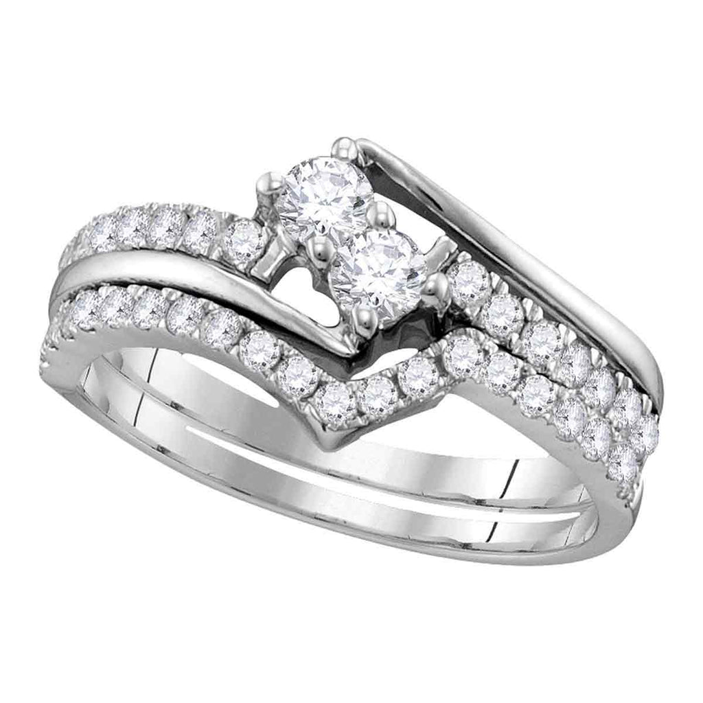 14kt White Gold Womens Round Diamond 2-stone Bridal Wedding Engagement Ring Band Set 1-1/2 Cttw