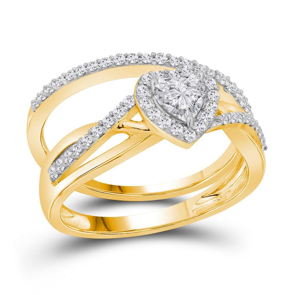 14kt Yellow Gold Womens Heart Diamond Bridal Wedding Engagement Ring Band Set 7/8 Cttw