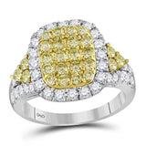 14kt White Gold Womens Round Canary Yellow Diamond Rectangle Cluster Ring 1-7/8 Cttw