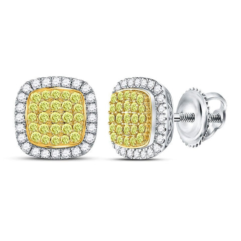 14kt White Gold Womens Round Yellow Diamond Square Frame Cluster Earrings 2.00 Cttw
