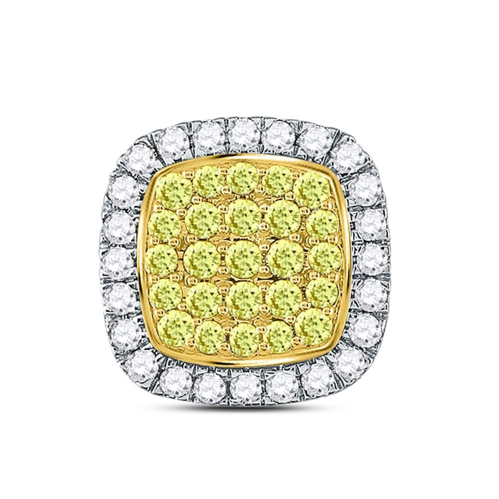 14kt White Gold Womens Round Yellow Diamond Square Cluster Pendant 1-1/4 Cttw