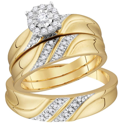 10kt Yellow Gold His & Hers Round Diamond Solitaire Matching Bridal Wedding Ring Band Set 1/3 Cttw