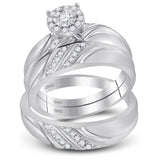 10kt White Gold His & Hers Round Diamond Solitaire Matching Bridal Wedding Ring Band Set 1/3 Cttw