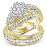 10kt Yellow Gold His & Hers Round Diamond Cluster Matching Bridal Wedding Ring Band Set 1-1/3 Cttw