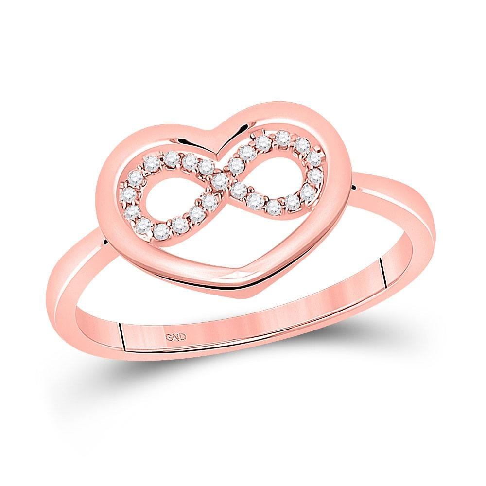 10kt Rose Gold Womens Round Diamond Infinity Heart Ring 1/20 Cttw