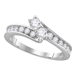 14kt White Gold Womens Round Diamond 2-stone Hearts Together Bridal Wedding Engagement Ring 1/2 Cttw (Certified)