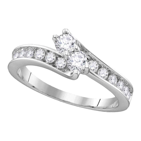 14kt White Gold Womens Round Diamond 2-stone Hearts Together Bridal Wedding Engagement Ring 1-3/8 Cttw