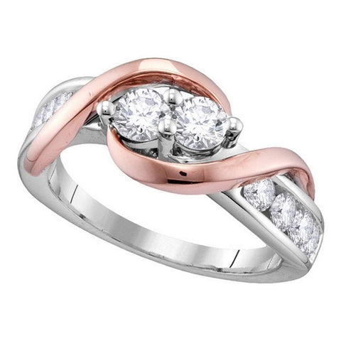 14kt White Gold Womens Round Diamond 2-stone Hearts Together Bridal Wedding Engagement Ring 1.00 Cttw