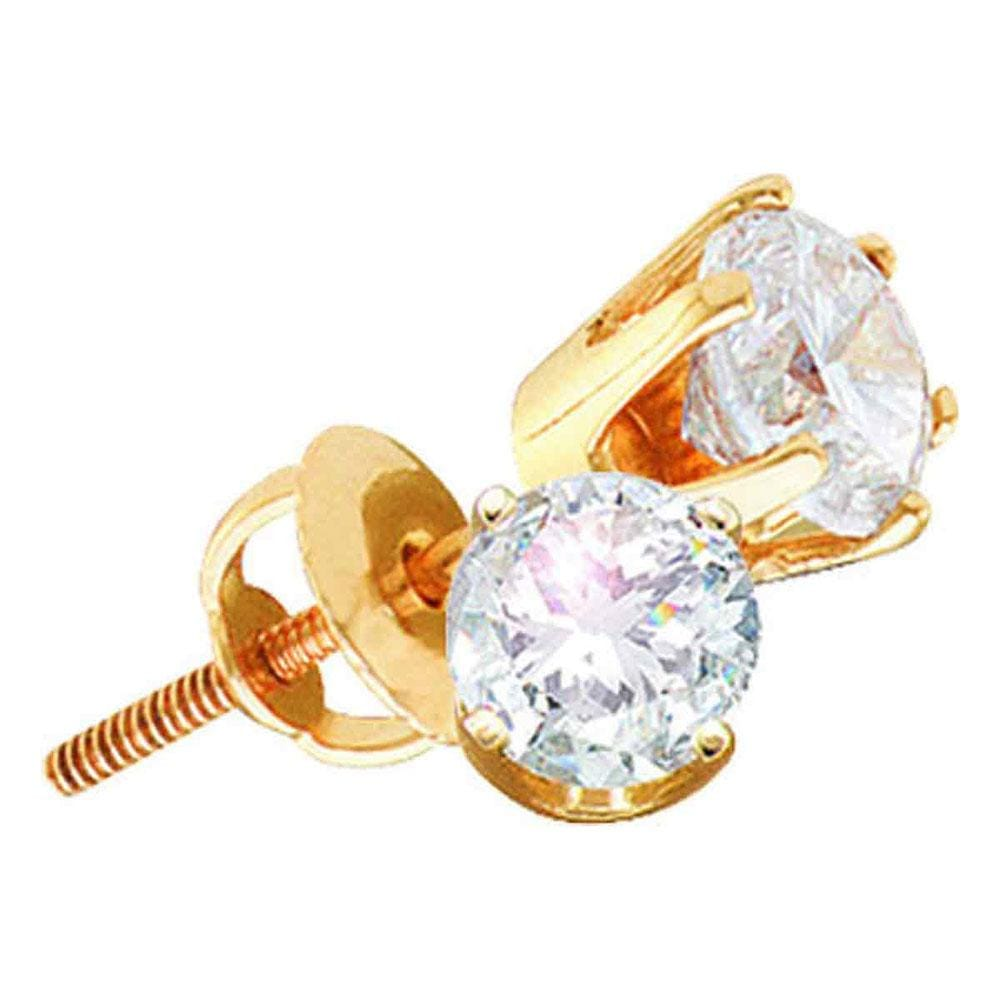 14kt Yellow Gold Womens Round Diamond Stud Earrings 2-1/8 Cttw