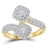 14kt Yellow Gold Womens Princess Diamond 2-stone Bypass Bridal Wedding Engagement Ring 1.00 Cttw