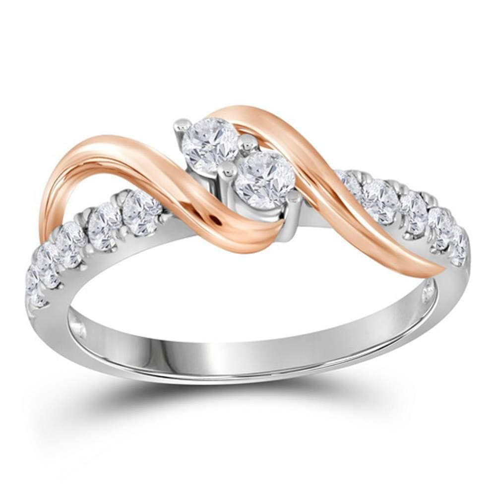 14kt Two-tone Gold Round Diamond 2-stone Bridal Wedding Engagement Ring 1/4 Cttw