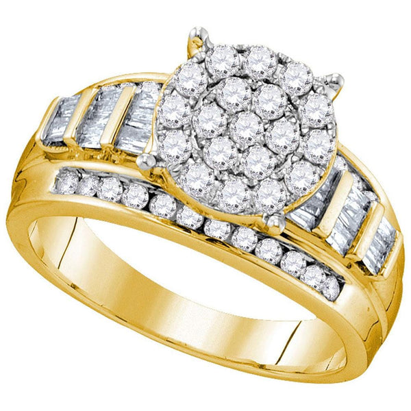 10kt Yellow Gold Womens Round Diamond Cindys Dream Cluster Bridal Wedding Engagement Ring 1.00 Cttw