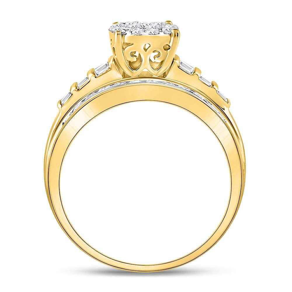 10kt Yellow Gold Womens Diamond Oval Cluster Bridal Wedding Engagement Ring 1.00 Cttw