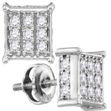 10kt White Gold Womens Round Diamond Square Cluster Stud Earrings 1/2 Cttw