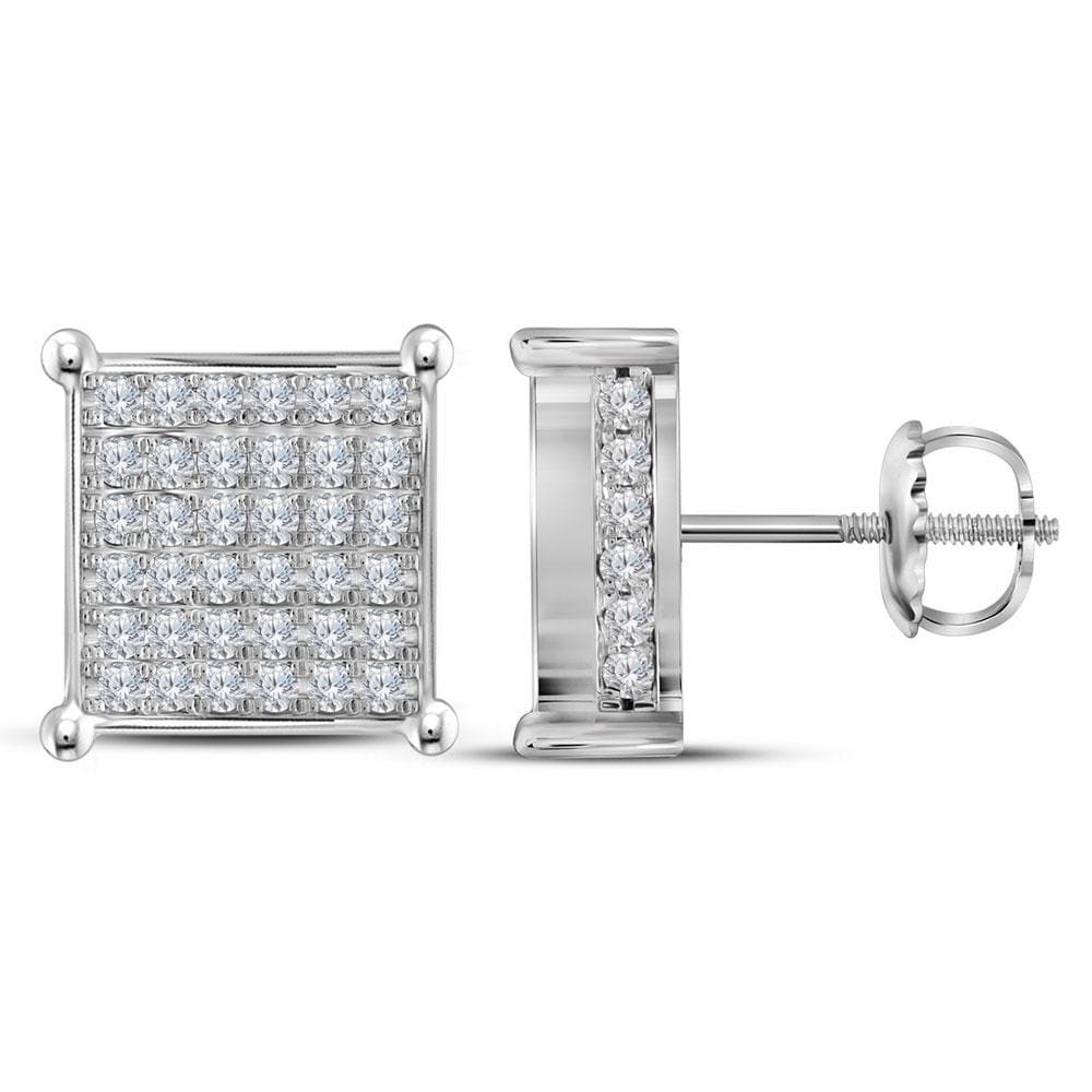 10kt White Gold Womens Round Diamond Square Cluster Stud Earrings 1-1/2 Cttw