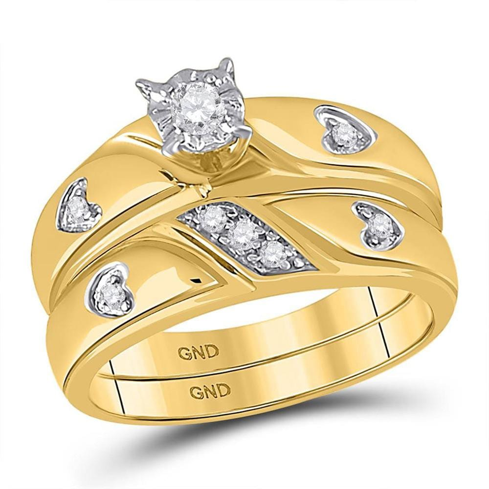 10kt Yellow Gold His Hers Round Diamond Solitaire Matching Wedding Set 1/ Cttw