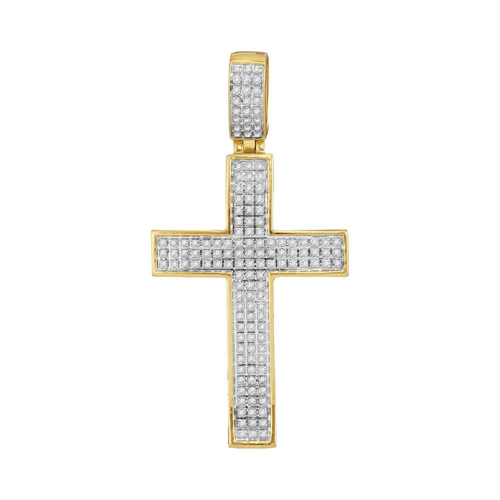 10kt Yellow Gold Mens Round Diamond Symmetrical Christian Cross Charm Pendant 3/8 Cttw